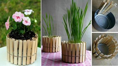 Clothespin Flower Pot