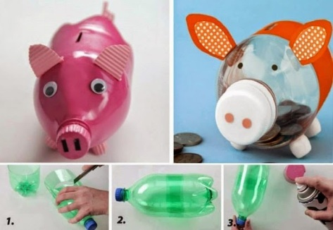 Make a cute piggy bank using plastic bottles.