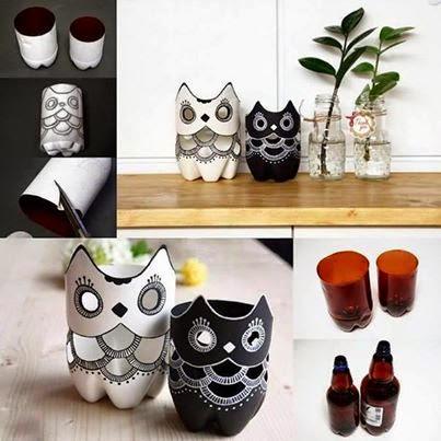 Owl's Using Plastic Bottles