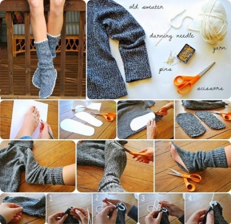 DIY Insulated Socks From Old Sweater.