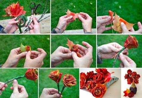 DIY Roses Using Autumn Leaves.