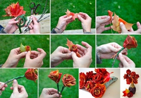 DIY Roses Using Autumn Leaves.