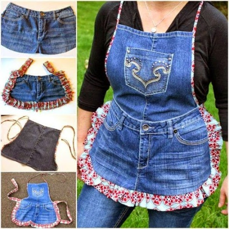 Make Farm Girl Apron from Recycled Jeans.