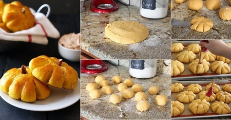 Pumpkin Bread Rolls with Cinnamon Butter.