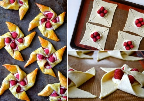 Raspberry Cream Cheese Pinwheel Pastries.