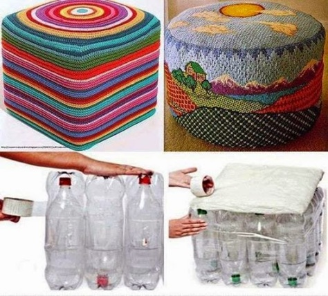 Turn water bottles into ottomans!